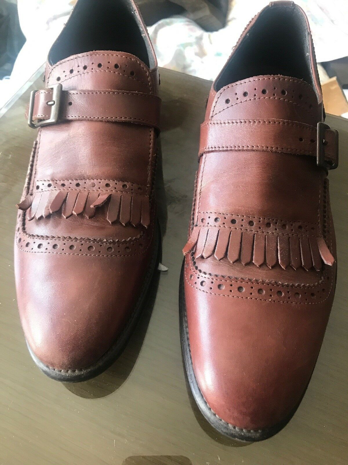 MONK STRAP STRAP STRAP SHOE WITH BROGUE AND TASSEL DETAILING aa6409