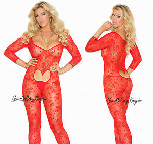 c0958e1f637 Image is loading Plus-Size-RED-FLORAL-LACE-BodyStocking-HEART-Cut-