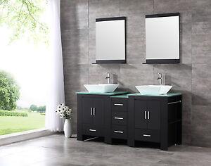 Black 60 Double Sink Basin Bathroom Vanity Cabinet Tempered Glass