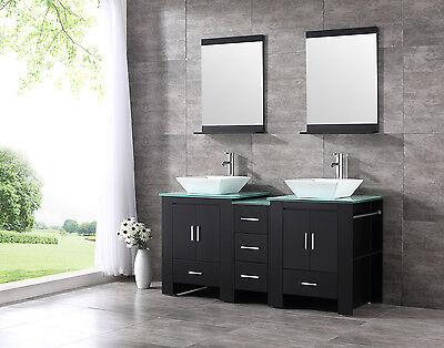 Black 60 Double Sink Basin Bathroom Vanity Cabinet Tempered Glass Top W Mirror Ebay