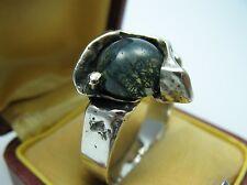 Burkhard und Monika Oly Top Moosachat Vintage Modernist Designer Ring 835 Silber