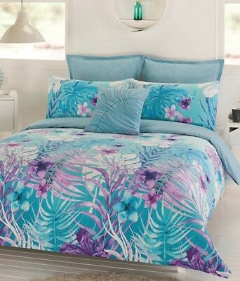 Ocean Floral 5 Pce Queen Size Quilt / Doona Cover Set European P/Case Dwell NEW