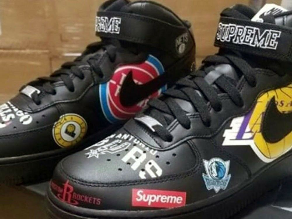 Supreme Nike NBA Teams Air Force 1 MidBlack US Size 11 100% Authentic Confirm