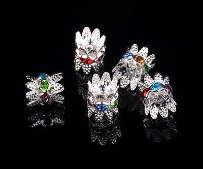 10/30pcs 9x10mm DIY Charms Crystal Glass Rhinestones Metal Loose Spacer Beads