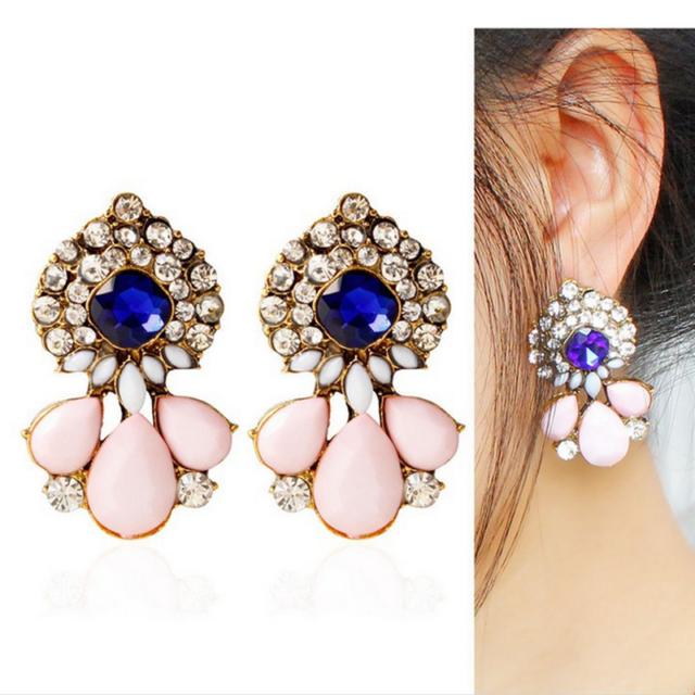 Vintage Women Resin Crystal Pink Drop Flower Blue Gem Ear Stud Earring Jewelry