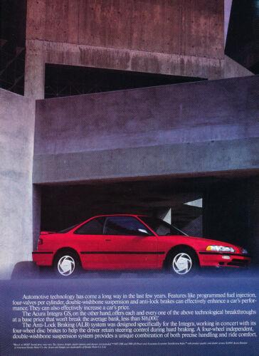 Original Car Advertisement Print Ad J202 1991 Acura Integra Coupe 2-page