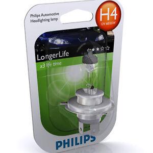 philips h4 longer life 3x lifetime 12v 60 55w 1 pack ebay. Black Bedroom Furniture Sets. Home Design Ideas