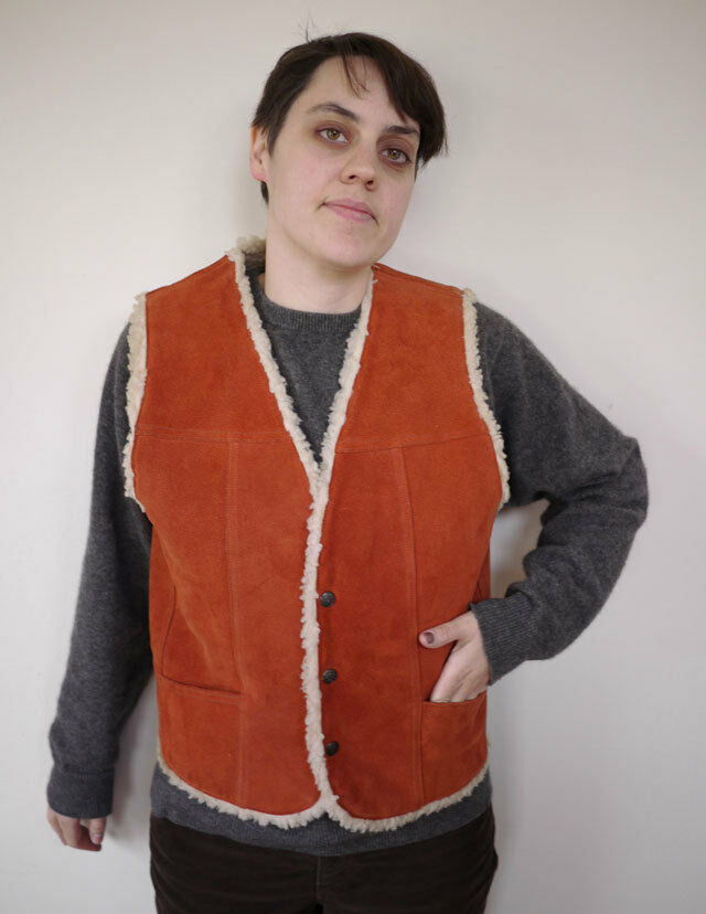 Vintage 1970s COWGIRL Western Mexican SUEDE Faux Shearling VEST S