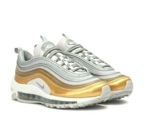 Details about Nike AIR MAX 97 SE Vast GreyMetallic Silver Gold AQ4137 001 Womens Running