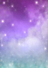 Purple Blue Sky Star Fantasy Vinyl Photography Studio Backdrop Background 5x7ft