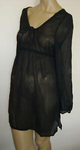 Black-Short-Mini-Dress-Beach-Cover-Up-Size-16-18-Sarong-Long-Sleeved-Top