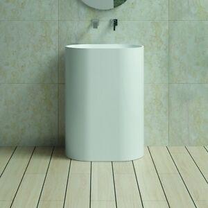 Free Standing Pedestal Sink : Free-Standing-Solid-Surface-Stone-Modern-Pedestal-Sink-24-x-16-inch-DW ...