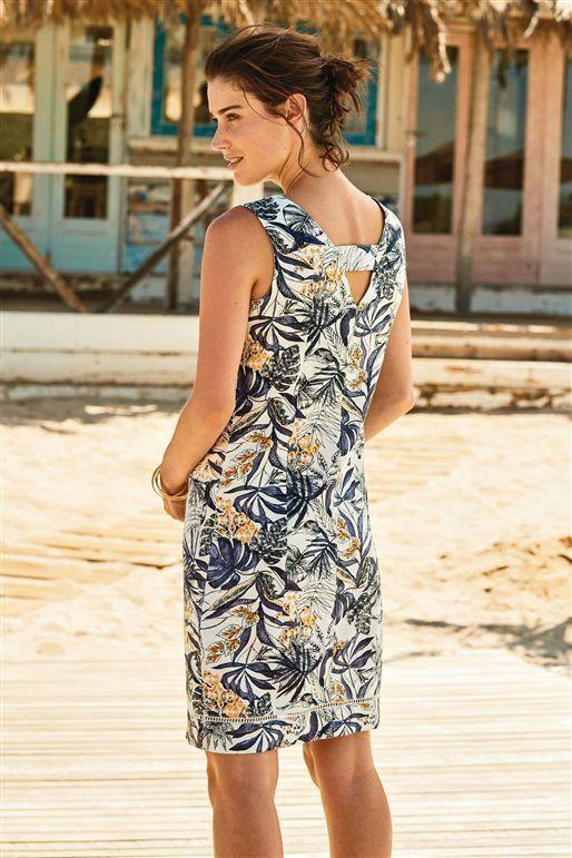 NEXT Cream Floral Tropical Linen Dress Shift Tunic Summer Sun Dress 16 (18) BNWT