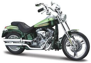 DéTerminé Harley-davidson Fxstdse Cvo Vert 1:18 Moto Modèle De Maisto