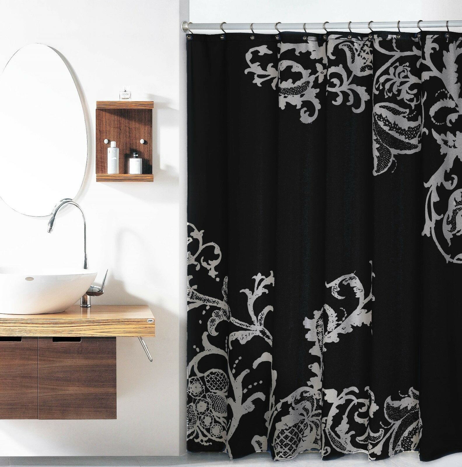 Fabric Shower Curtain Black With Gray Floral Pattern 70 W X 72 L