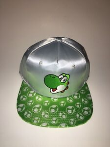3d276c914 Details about NEW Super Mario Brothers Yoshi Snapback Cap Hat Adult in  Silver/Green Nintendo