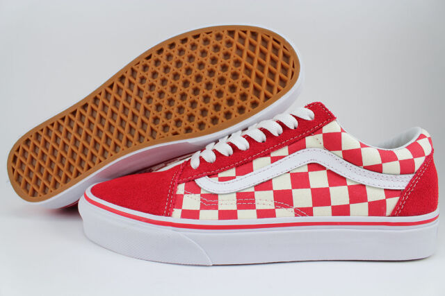 822f31fbc4 VANS OLD SKOOL PRIMARY CHECKERBOARD RACING RED OFF WHITE CHECK SKATE US MEN  SIZE
