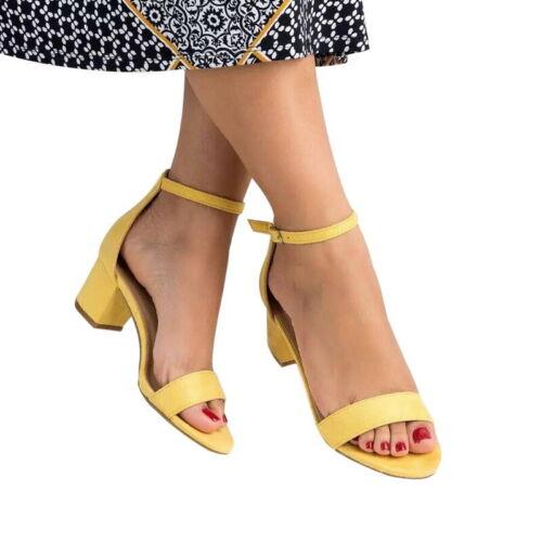 Womens Block Heel Sandals Pumps Ladies Peep Toe Casual Ankle Strap Sandals Shoes