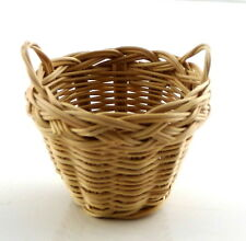 Dolls House 2 Handled Wicker Washing Storage Basket Miniature 1:12 Accessory