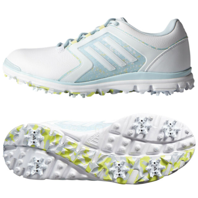 adidas Clearance Womens Adistar Tour Golf Shoes - White blue lime UK ... 6d651ad28