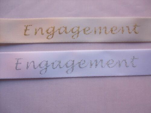 "Choice of Colours 1m of Club Green /""Engagement/"" Ribbon 15mm Wide"