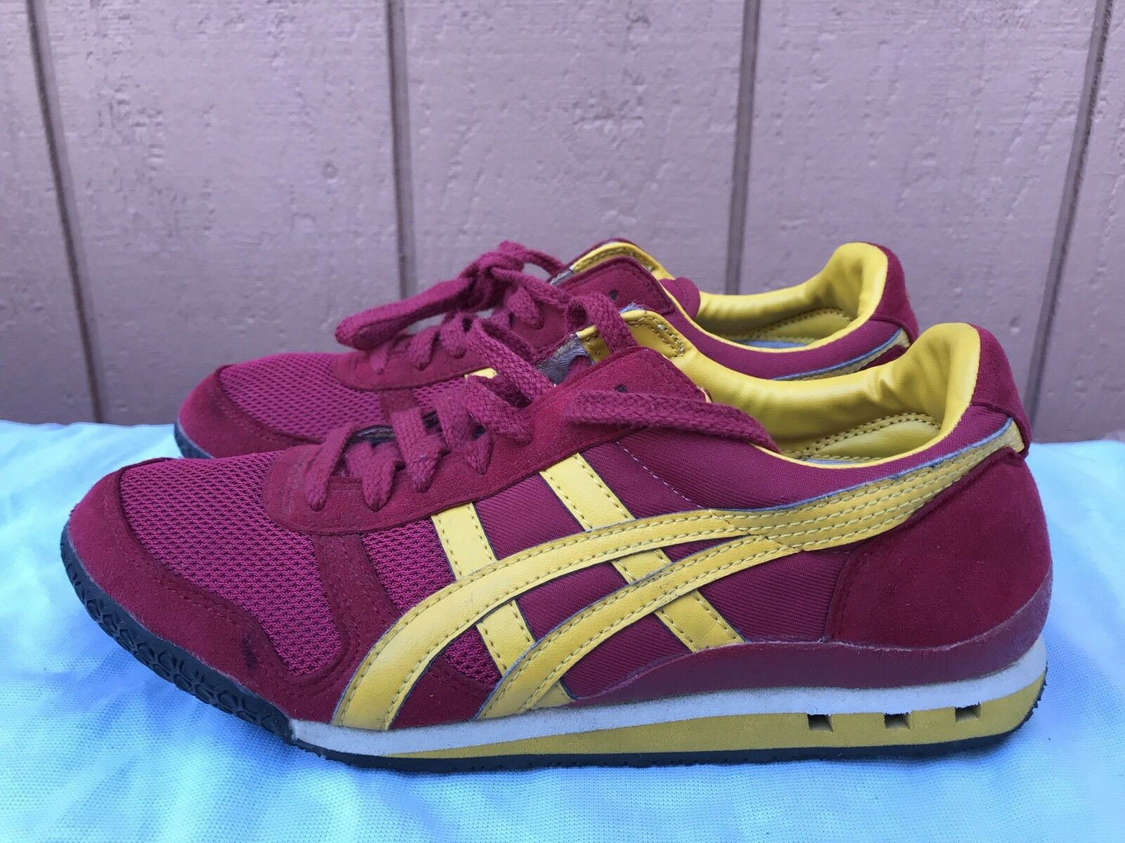 Onitsuka Tiger HN201 Red Yellow Men US 6.5 Suede Running Hipster Sneaker shoes A3