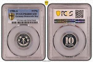 DDR 10 Pfennig 1986 A Polierte Platte PCGS PR68DCAM 53228
