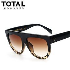 Womens Retro Designer Oversized Flat Lens Sunglasses Fashion Men Glasses Eyewear