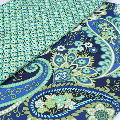 Cotton Fabric Price per 1//2 metre Paisley on Brown LINEN