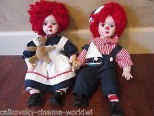 Vintage Porcelain Pair Raggedy Ann dolls Glass Eyes eyelashes! collectible doll