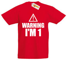 Warning I/'m 1-1st Birthday Gift T-Shirt For 1 Year Old Boys /& Girls