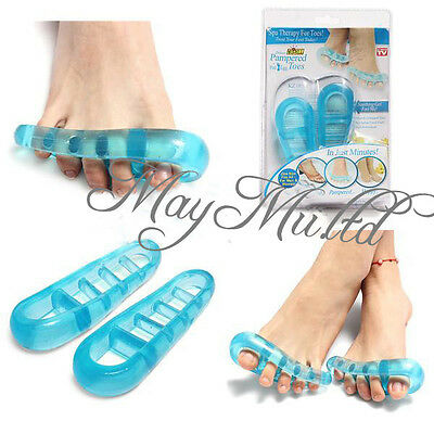 1Pair Blue Gel Silicone Separate Toes Feet Pain Relieve Yoga Gym Relax Stretch L