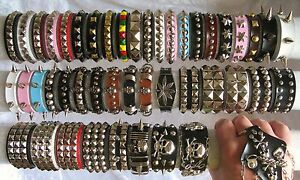 Image Is Loading Metal Spike Studded Bracelet Wristband Faux Leather Rivet