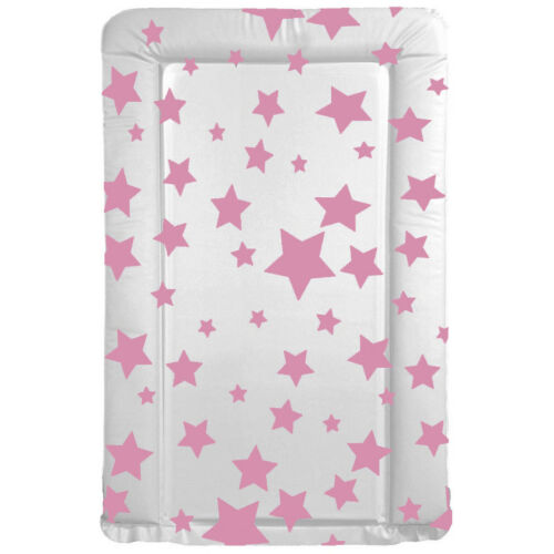 Easy Wipe Clean PVC Padded Pink Blue Baby Changing Mat Grey Stars Nursery