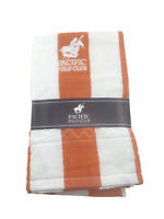 Pacific Polo Club Orange White Strip 30x60 Cabana Pool Beach Towel