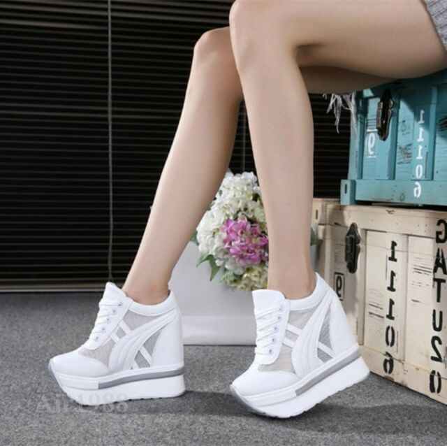 Womens Lady High top Hidden Wedges Platform Sneakers Casual Mesh Trainers Shoes