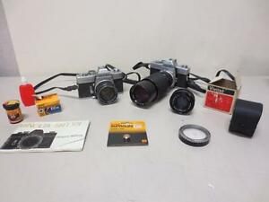 LOT-of-2-Minolta-SRT101-SLR-Camera-RESTORE-REPAIR-MC-Rokkor-Vivitar-Zoom-Lens