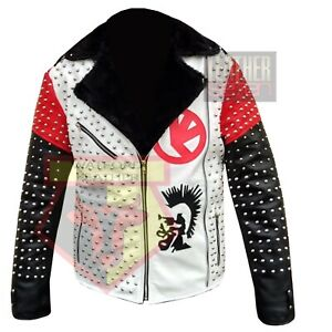 AMERICAN-WESTERN-MOTORCYCLE-STYLE-1056-WHITE-STUDDED-COWHIDE-LEATHER-JACKET