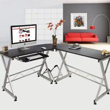 lshape corner computer desk laptop pc table wood workstation home office black