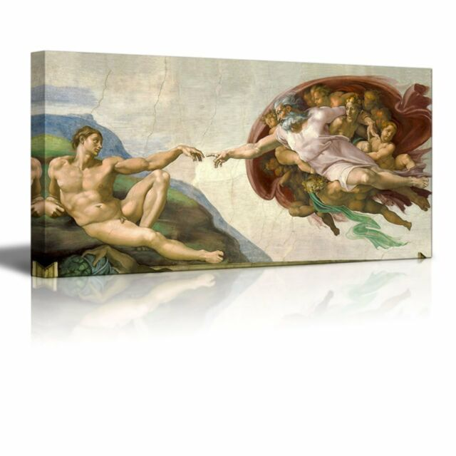 """Creation Of Adam by Michelangelo Giclee Canvas Prints Wrapped Wall Art-24/"""" x 48/"""""""