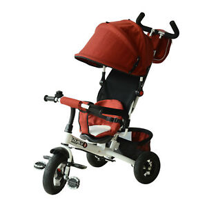 4-in-1-Baby-Tricycle-amp-Stroller-Kids-Trike-w-Pushbar-amp-Canopy-Toddler-Red