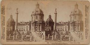 Roma-Forum-E-Colonna-Traiano-Italia-Foto-Stereo-Vintage-Albumina-1897