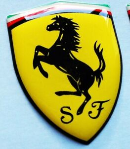 Ferrari-rectangle-or-shield-sticker-badge-3D-coated-self-adhesive-various-sizes