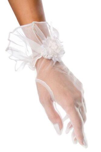 Weiße Spitzenhandschuhe kurz mit Motiv transparent elegante Handstulpen Netzhand