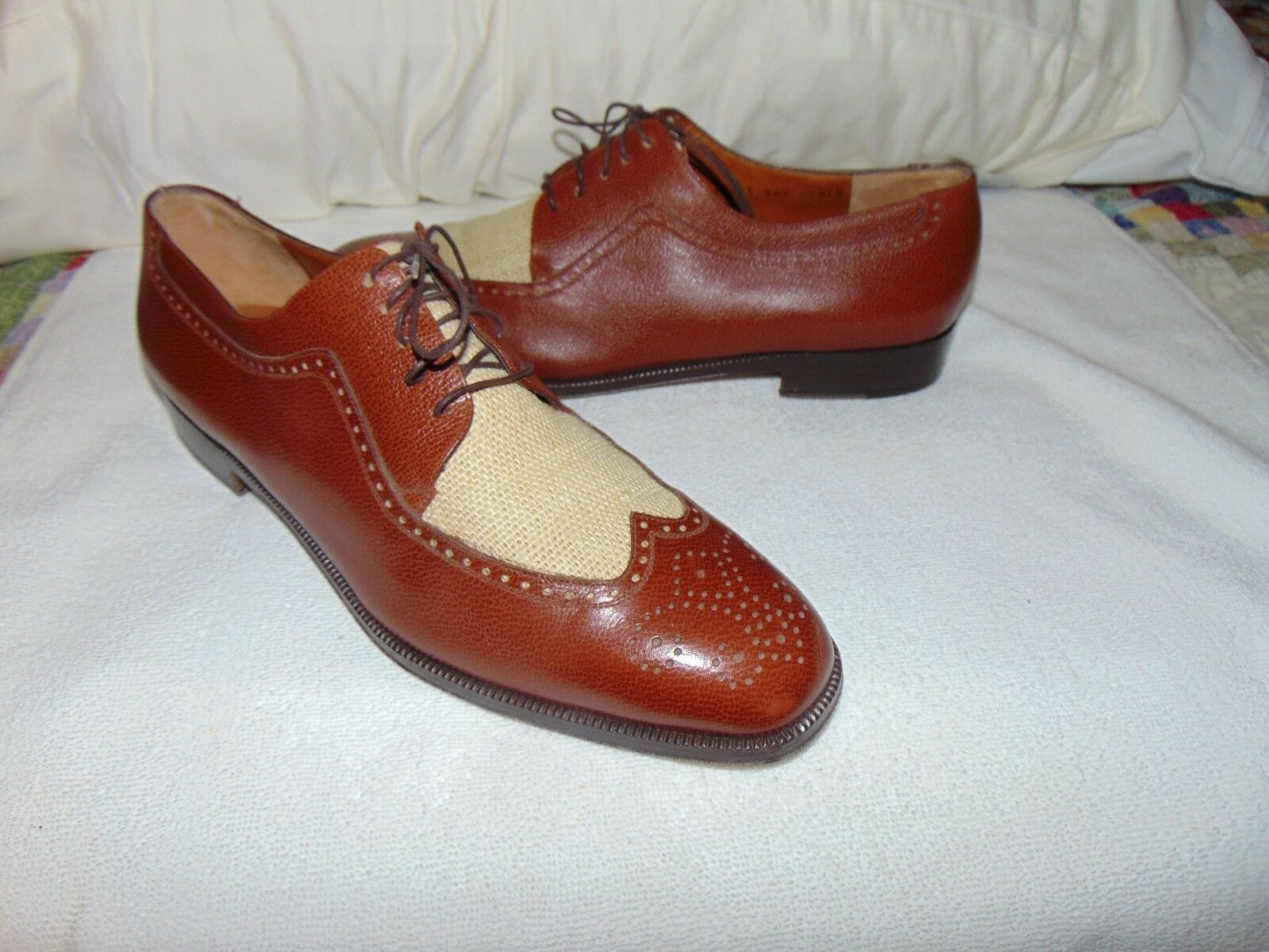 Salvatore Ferragamo Dress Oxfords Leather Sole Shoes Wingtips Balmoral  11.5 D T