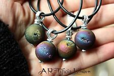 Saharan Aura Quartz Titanium Sphere Necklace Charged Crystal Healing Jewellery