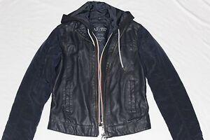 0632bfc7b New Armani Jeans Men AJ Navy Blue Faux Leather Coat Zipper Jacket ...