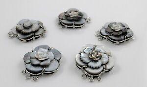Black Shell Box Clasps,Multi-strand,Brass Findings, Platinum,Rose Flower 28-29mm