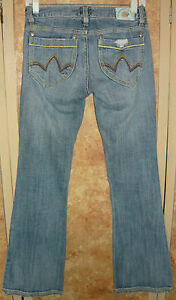 Ladies-DEPARTMENT-OF-PEACE-Jeans-sz-1-Low-Rise-distressed-boot-cut-FREE-SHIPPING