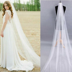 White-Ivory-1T-2M-Wedding-Bridal-Long-Veil-Church-Cathedral-Length-With-Comb-New